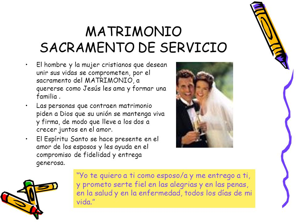 MATRIMONIO SACRAMENTO DE SERVICIO