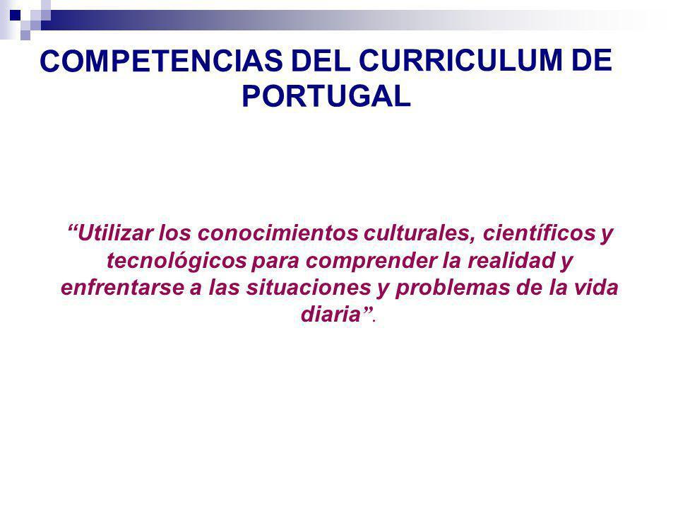 COMPETENCIAS DEL CURRICULUM DE PORTUGAL