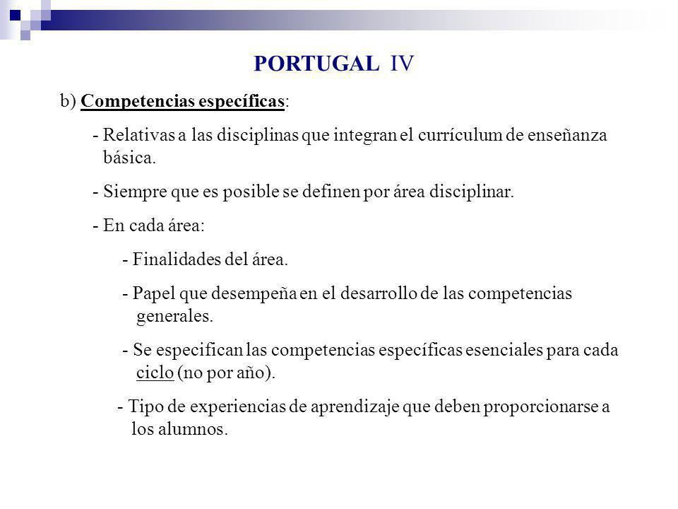 PORTUGAL IV b) Competencias específicas: