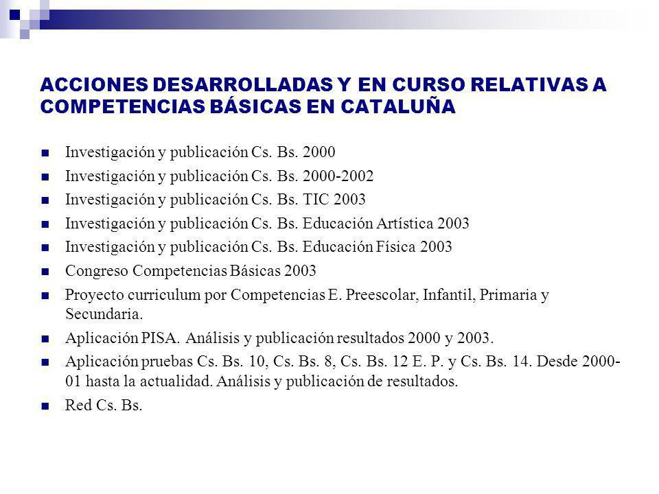 ACCIONES DESARROLLADAS Y EN CURSO RELATIVAS A COMPETENCIAS BÁSICAS EN CATALUÑA