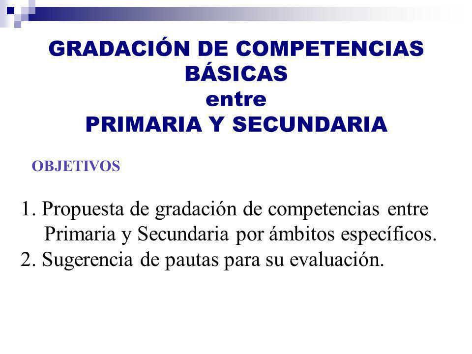 GRADACIÓN DE COMPETENCIAS BÁSICAS entre PRIMARIA Y SECUNDARIA
