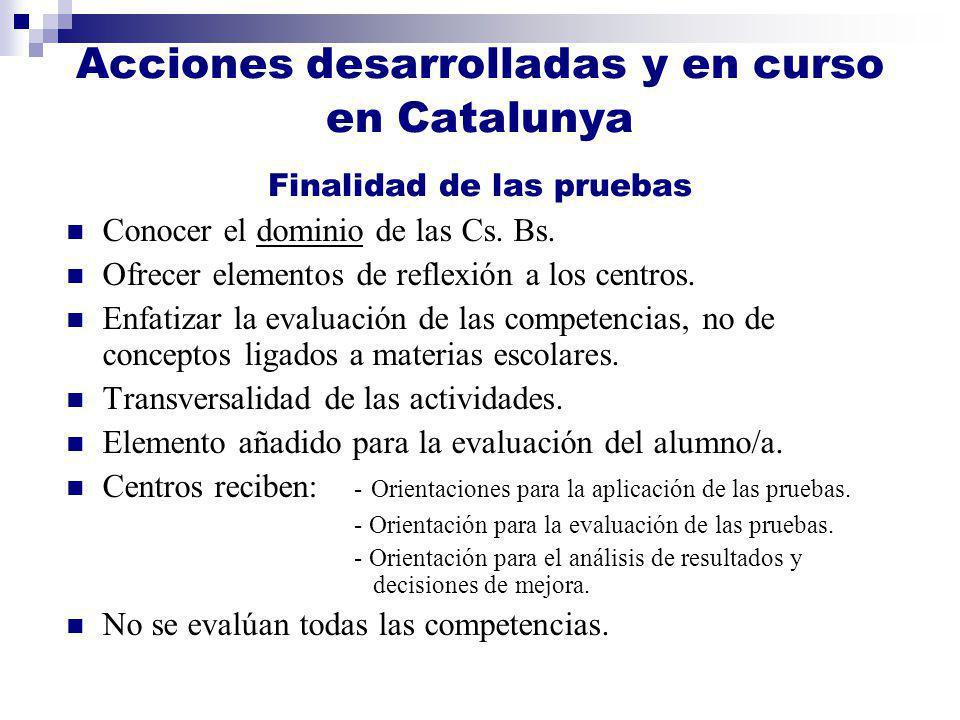 Acciones desarrolladas y en curso en Catalunya Finalidad de las pruebas