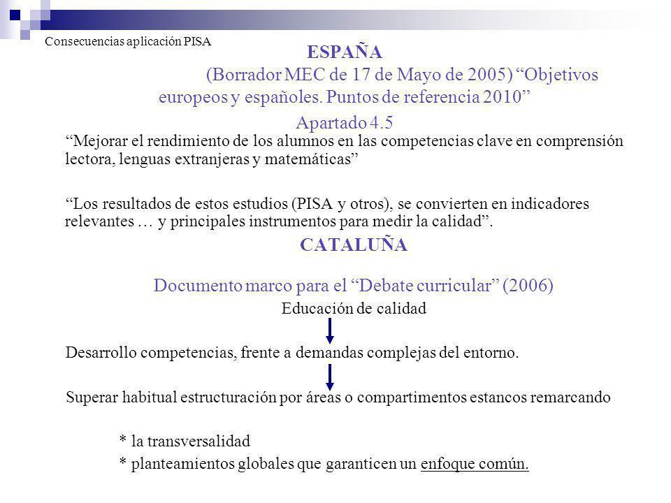CATALUÑA Documento marco para el Debate curricular (2006)