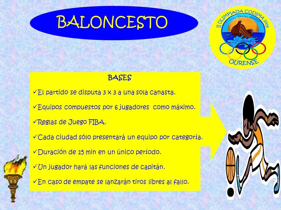 BALONCESTO BASES El partido se disputa 3 x 3 a una sola canasta.