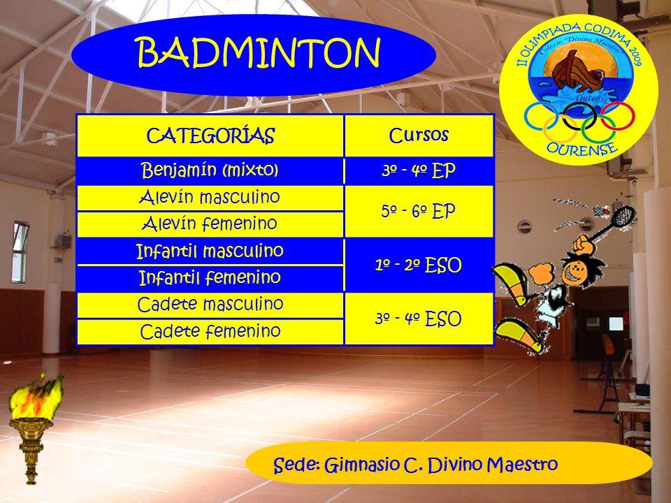 BADMINTON CATEGORÍAS Cursos Benjamín (mixto) 3º - 4º EP
