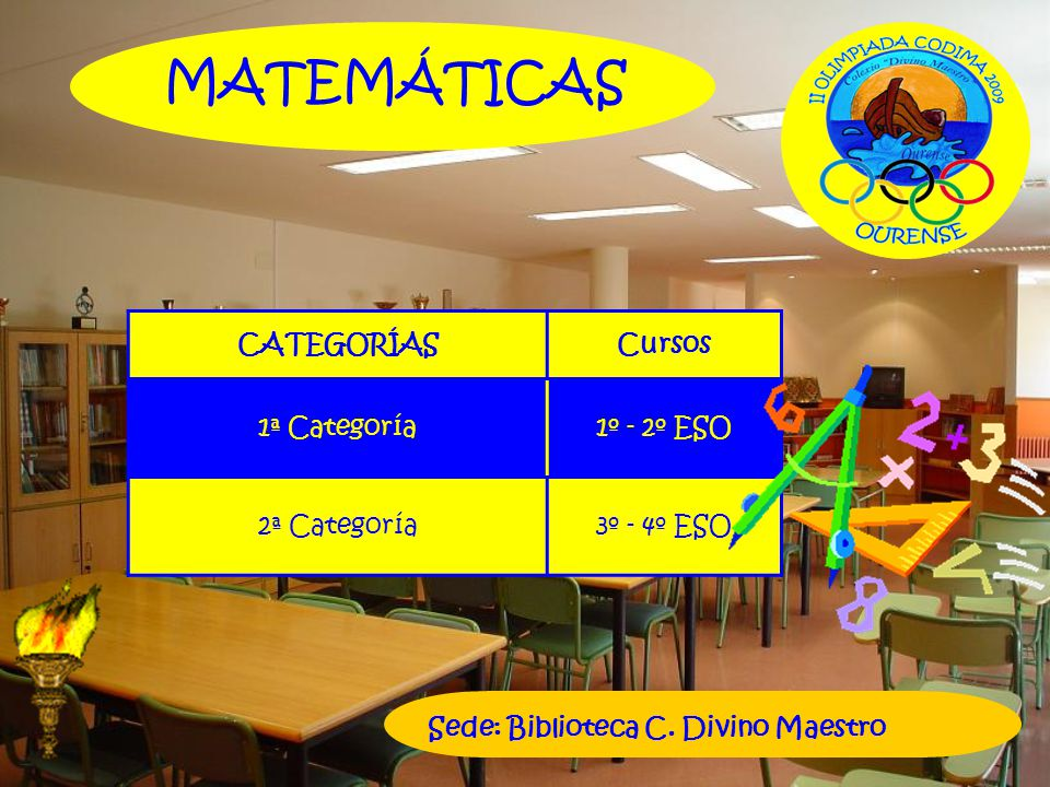 MATEMÁTICAS CATEGORÍAS Cursos 1ª Categoría 1º - 2º ESO 2ª Categoría