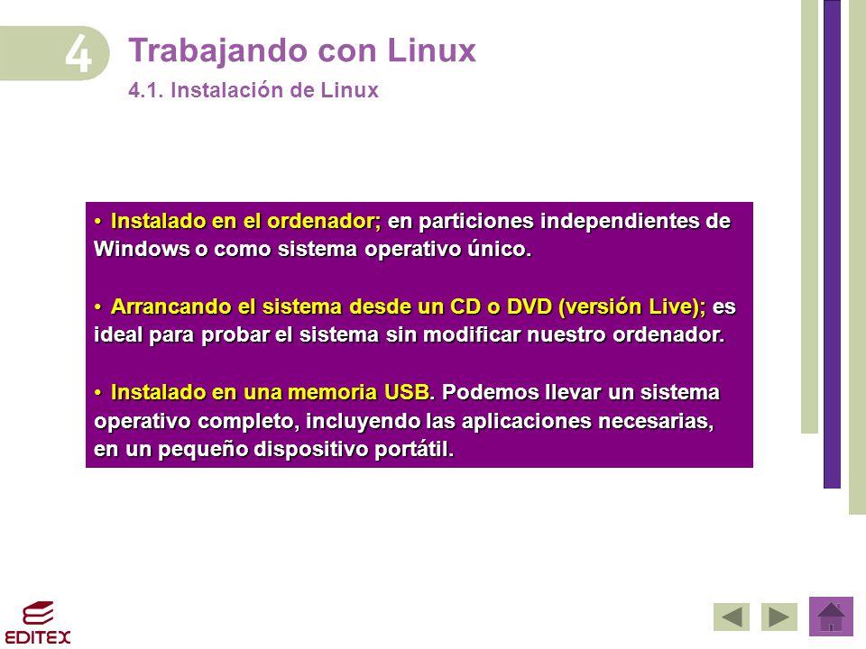 Trabajando con Linux 4.1. Instalación de Linux