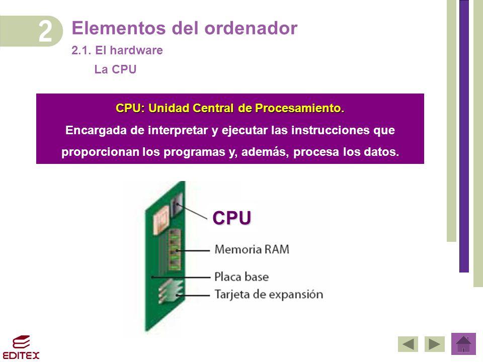 CPU: Unidad Central de Procesamiento.