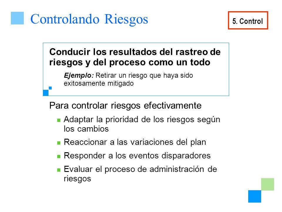 Controlando Riesgos 5. Control. Conducir los resultados del rastreo de riesgos y del proceso como un todo.