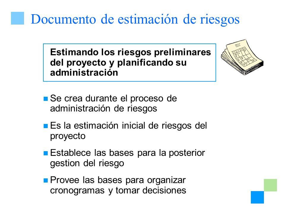 Documento de estimación de riesgos