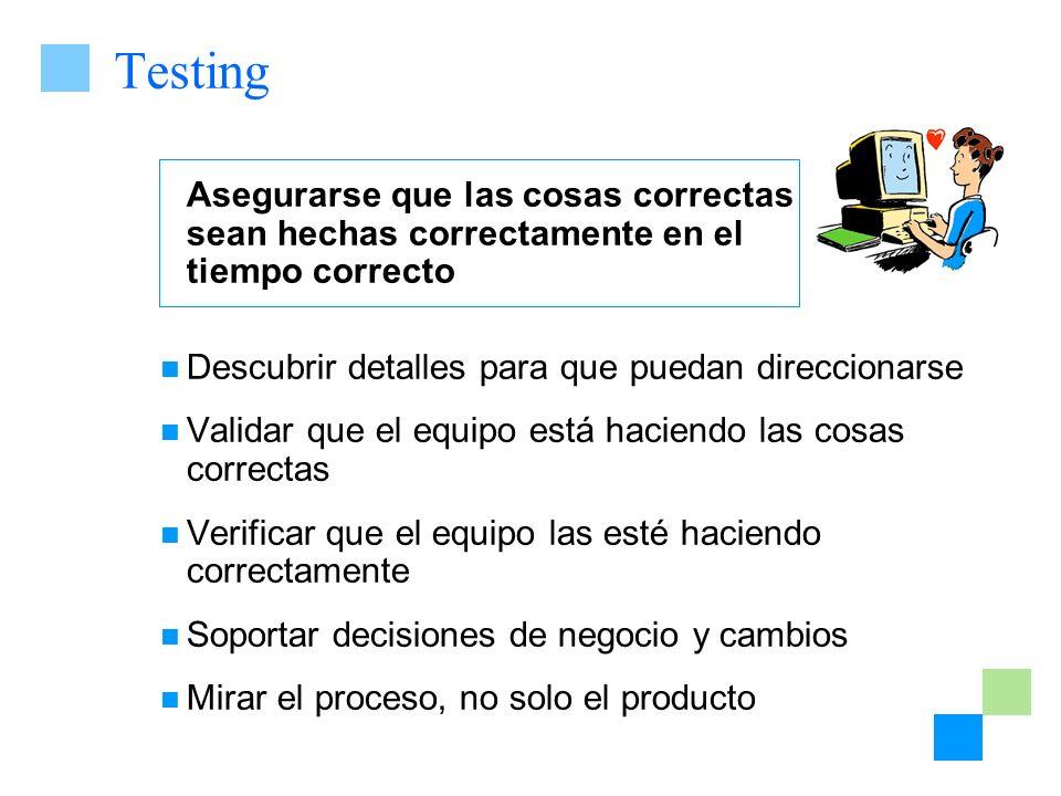 Testing Asegurarse que las cosas correctas sean hechas correctamente en el tiempo correcto.