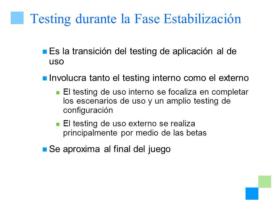 Testing durante la Fase Estabilización