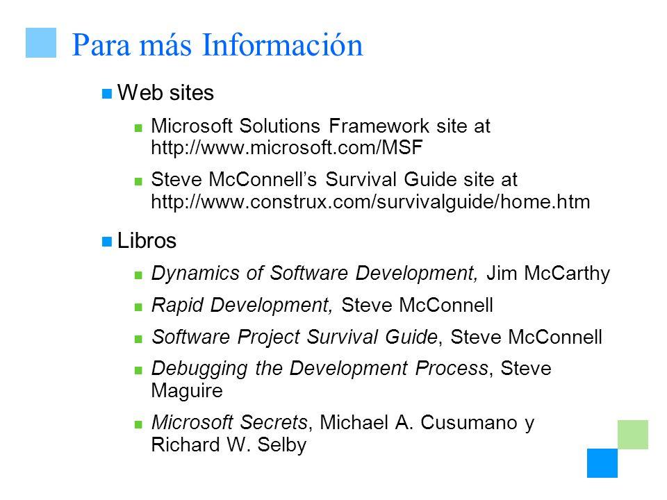 Para más Información Web sites Libros
