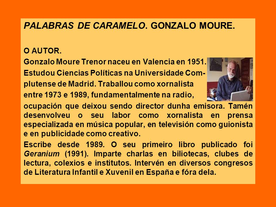 PALABRAS DE CARAMELO. GONZALO MOURE.
