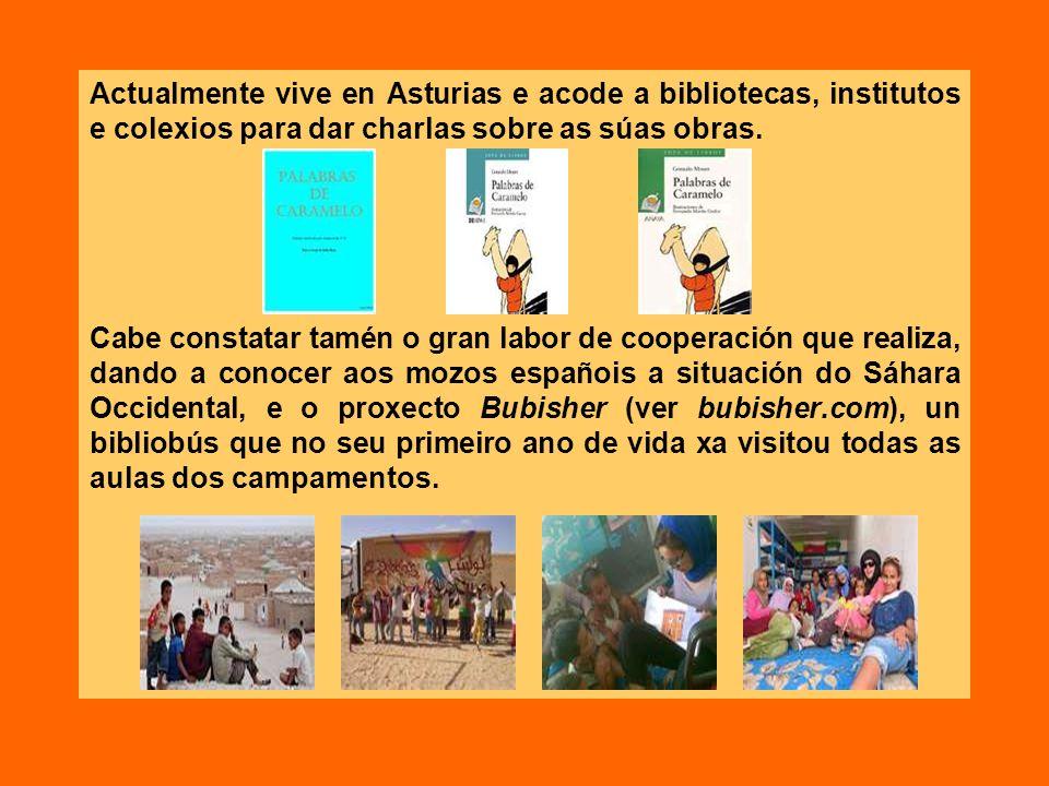 Actualmente vive en Asturias e acode a bibliotecas, institutos e colexios para dar charlas sobre as súas obras.
