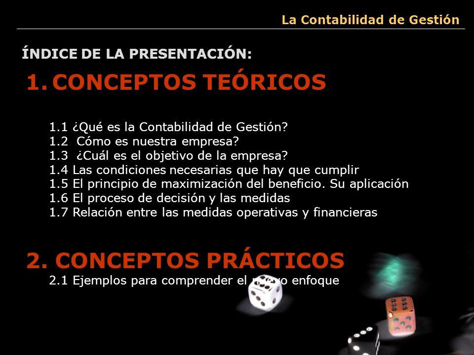 CONCEPTOS TEÓRICOS 2. CONCEPTOS PRÁCTICOS ÍNDICE DE LA PRESENTACIÓN: