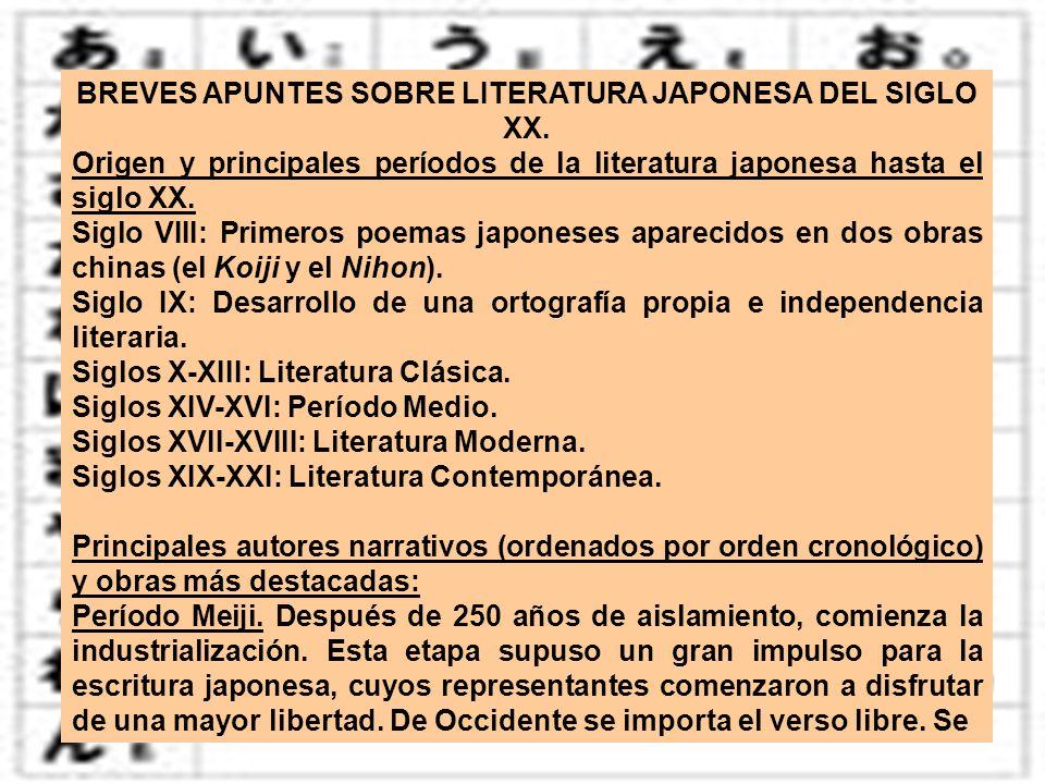 BREVES APUNTES SOBRE LITERATURA JAPONESA DEL SIGLO XX.