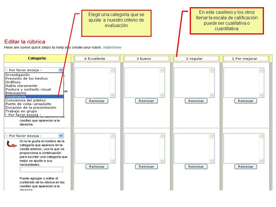 Elegir una categoría que se ajuste a nuestro criterio de evaluación