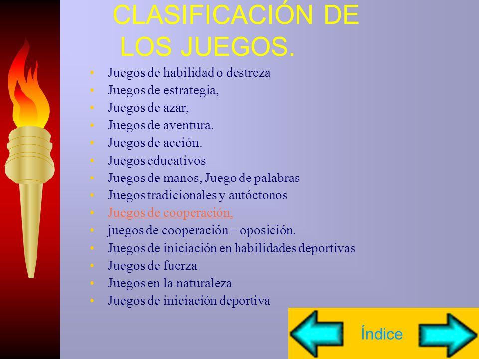 CLASIFICACIÓN DE LOS JUEGOS.