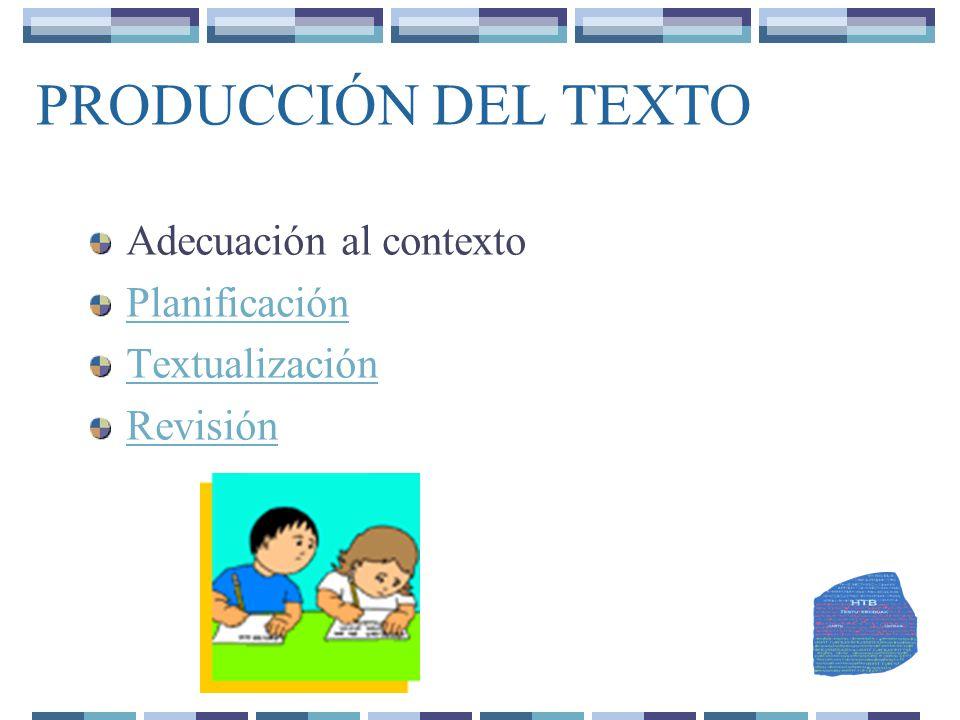 PRODUCCIÓN DEL TEXTO Adecuación al contexto Planificación
