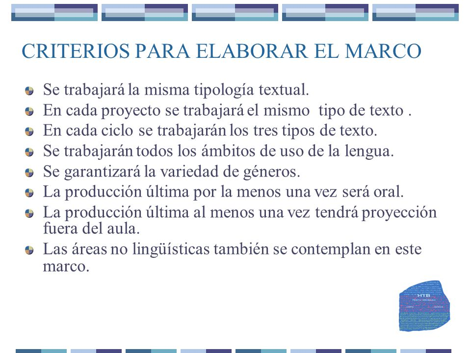 CRITERIOS PARA ELABORAR EL MARCO