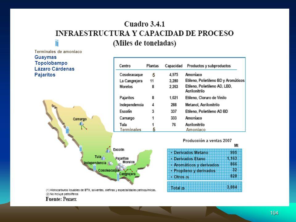 Guaymas Topolobampo Lázaro Cárdenas Pajaritos 5 Terminales de amoniaco