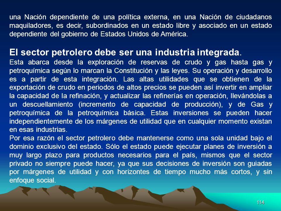 El sector petrolero debe ser una industria integrada.