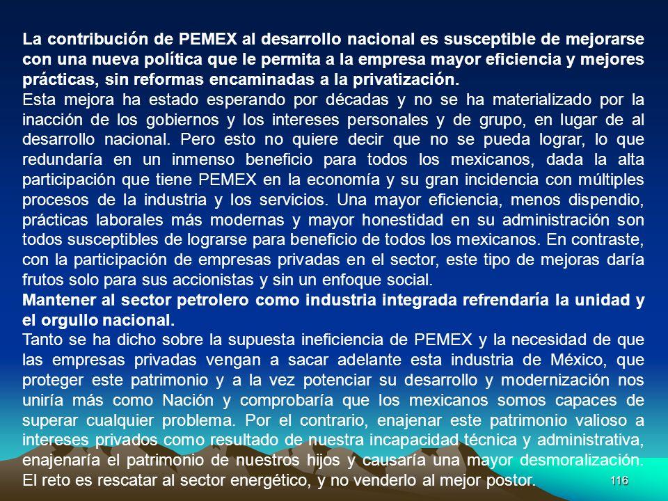 La contribución de PEMEX al desarrollo nacional es susceptible de mejorarse con una nueva política que le permita a la empresa mayor eficiencia y mejores prácticas, sin reformas encaminadas a la privatización.