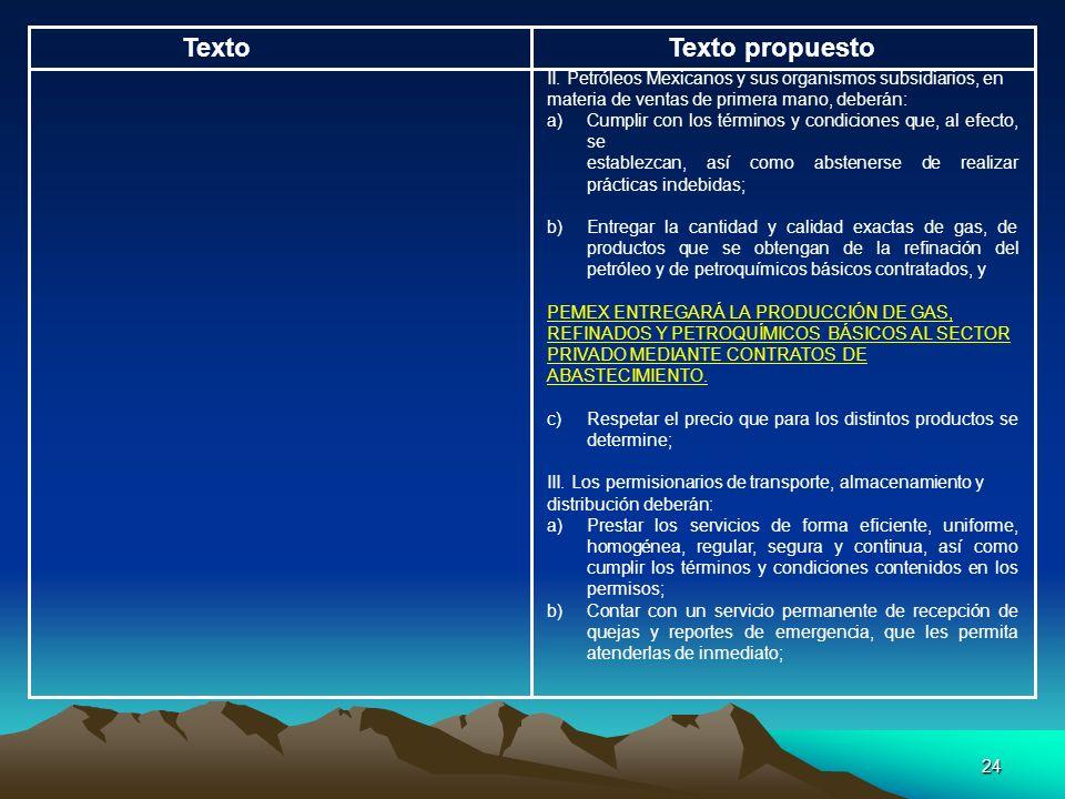 Texto Texto propuesto. II. Petróleos Mexicanos y sus organismos subsidiarios, en. materia de ventas de primera mano, deberán: