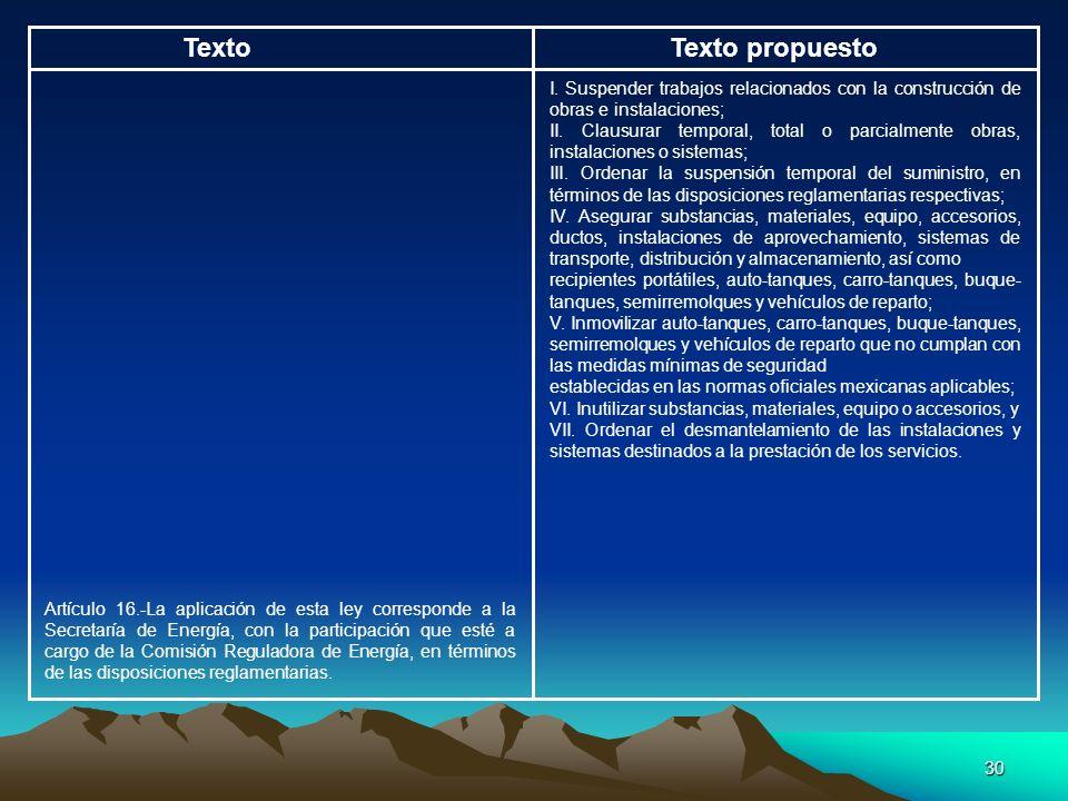 Texto Texto propuesto. I. Suspender trabajos relacionados con la construcción de obras e instalaciones;