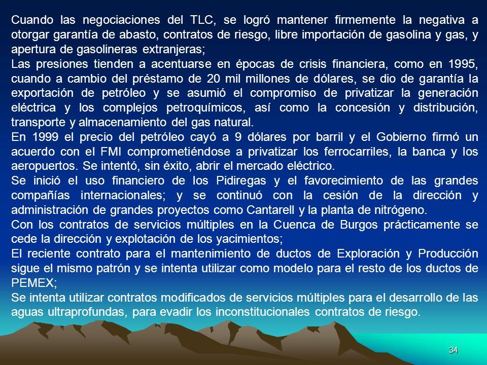 Cuando las negociaciones del TLC, se logró mantener firmemente la negativa a otorgar garantía de abasto, contratos de riesgo, libre importación de gasolina y gas, y apertura de gasolineras extranjeras;