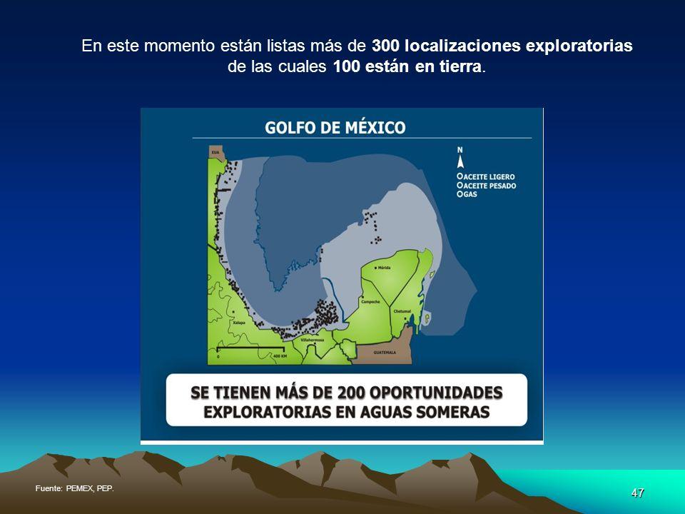 En este momento están listas más de 300 localizaciones exploratorias de las cuales 100 están en tierra.