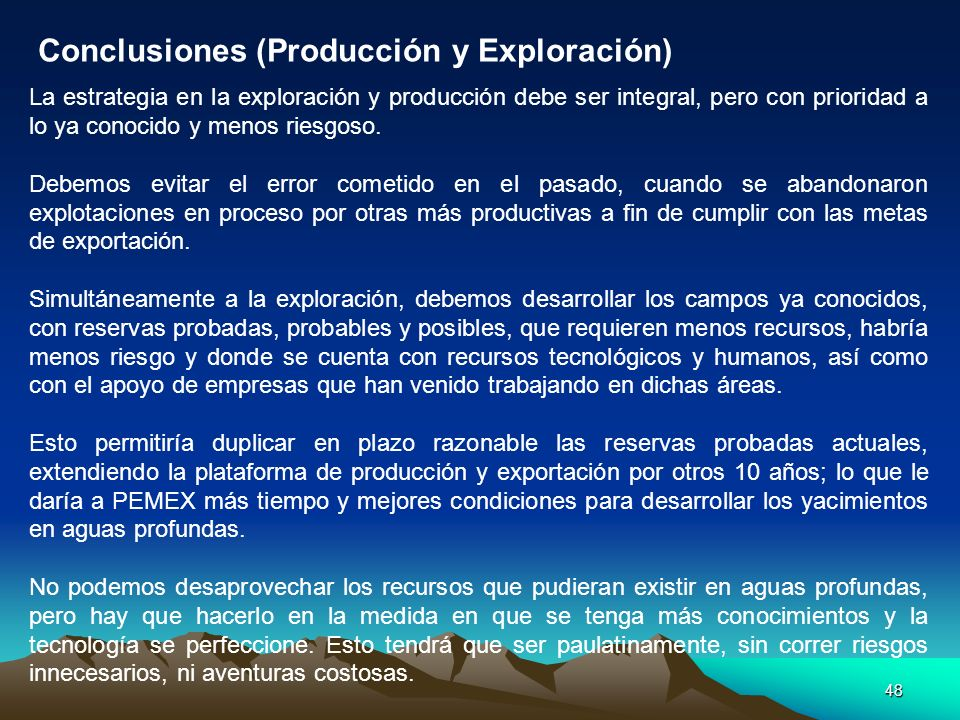 Conclusiones (Producción y Exploración)