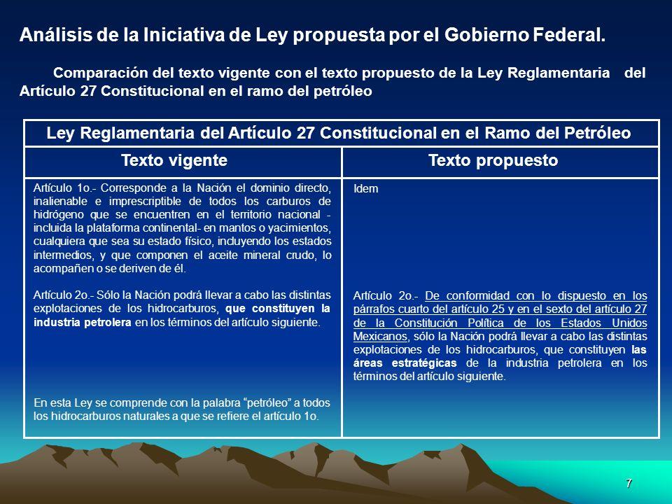 Análisis de la Iniciativa de Ley propuesta por el Gobierno Federal.