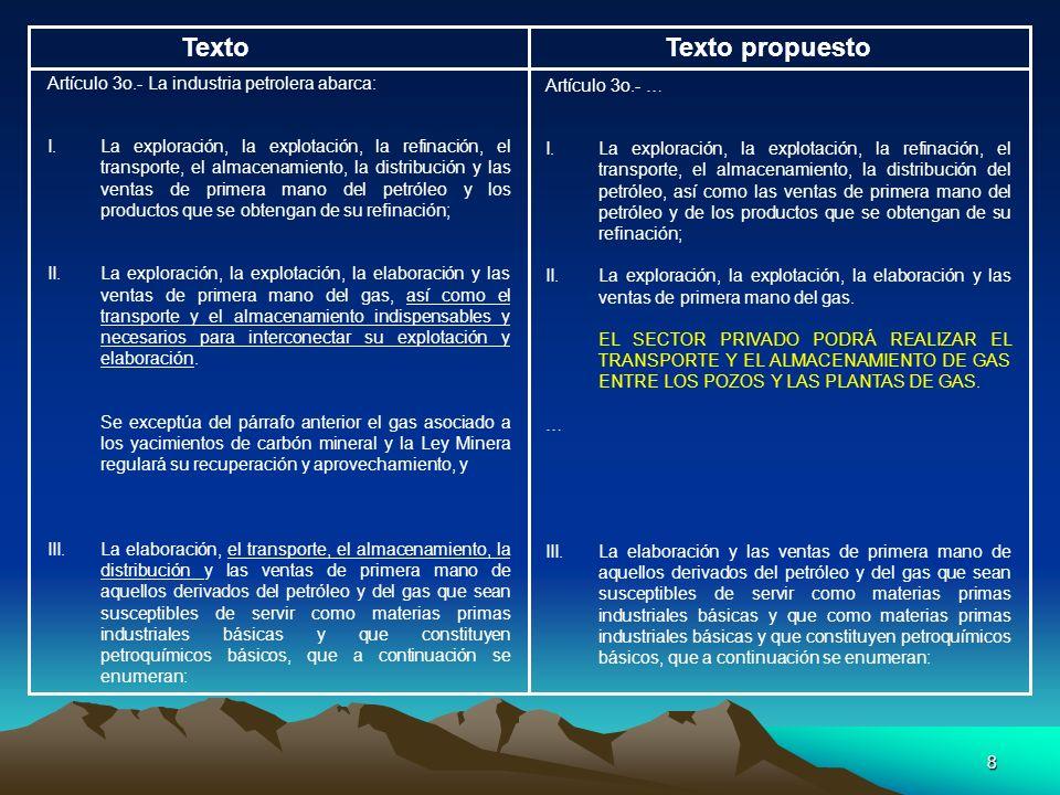 Texto Texto propuesto Artículo 3o.- La industria petrolera abarca: