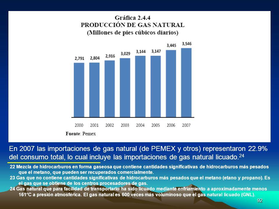 En 2007 las importaciones de gas natural (de PEMEX y otros) representaron 22.9%