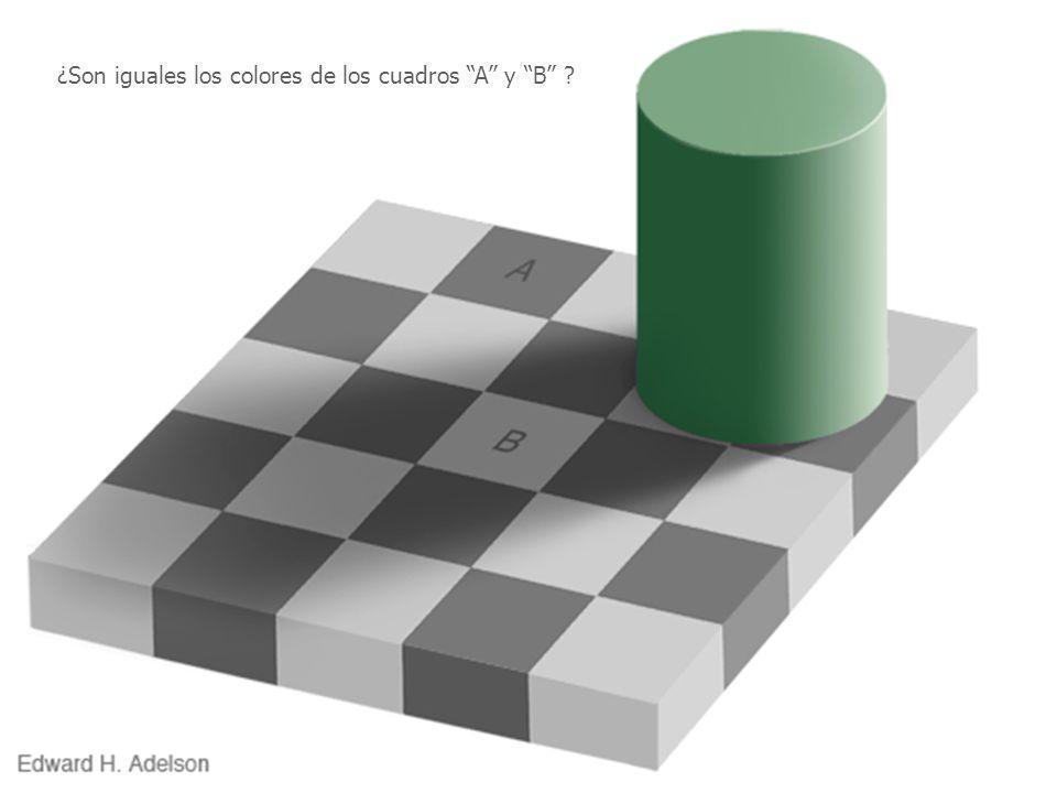 ¿Son iguales los colores de los cuadros A y B