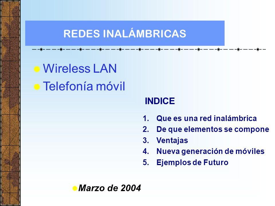Wireless LAN Telefonía móvil REDES INALÁMBRICAS INDICE Marzo de 2004