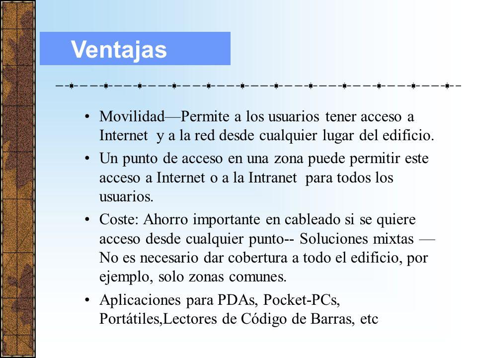 Ventajas Movilidad—Permite a los usuarios tener acceso a Internet y a la red desde cualquier lugar del edificio.