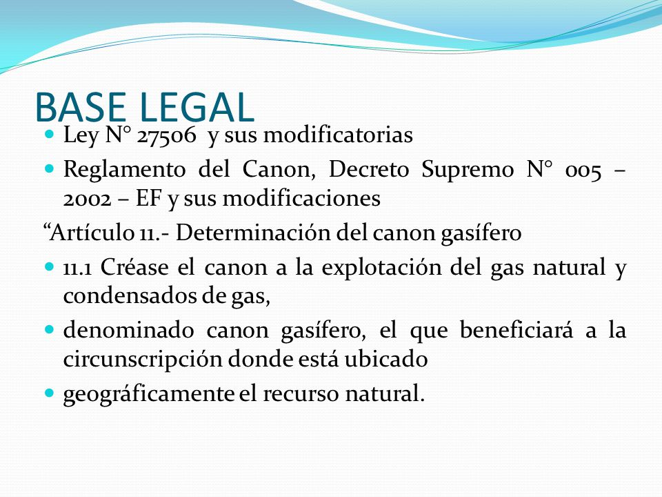 BASE LEGAL Ley N° 27506 y sus modificatorias