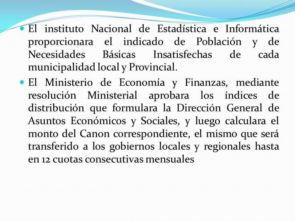 El instituto Nacional de Estadística e Informática proporcionara el indicado de Población y de Necesidades Básicas Insatisfechas de cada municipalidad local y Provincial.