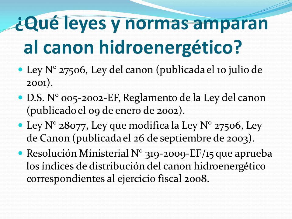 ¿Qué leyes y normas amparan al canon hidroenergético