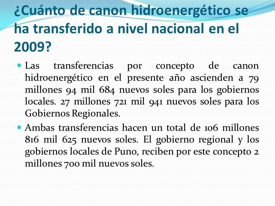 ¿Cuánto de canon hidroenergético se ha transferido a nivel nacional en el 2009