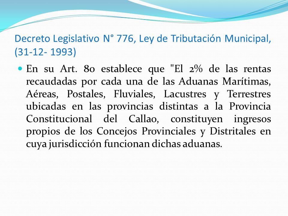 Decreto Legislativo N° 776, Ley de Tributación Municipal, (31-12- 1993)