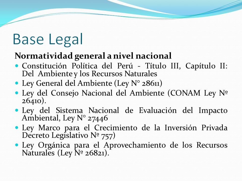 Base Legal Normatividad general a nivel nacional