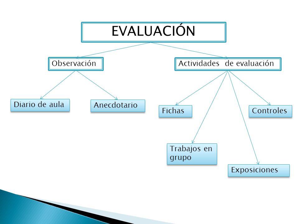 EVALUACIÓN Observación Actividades de evaluación Diario de aula
