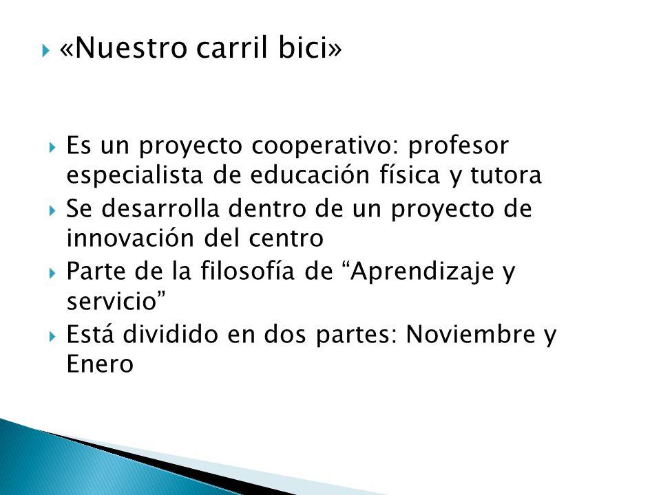 «Nuestro carril bici» Es un proyecto cooperativo: profesor especialista de educación física y tutora.