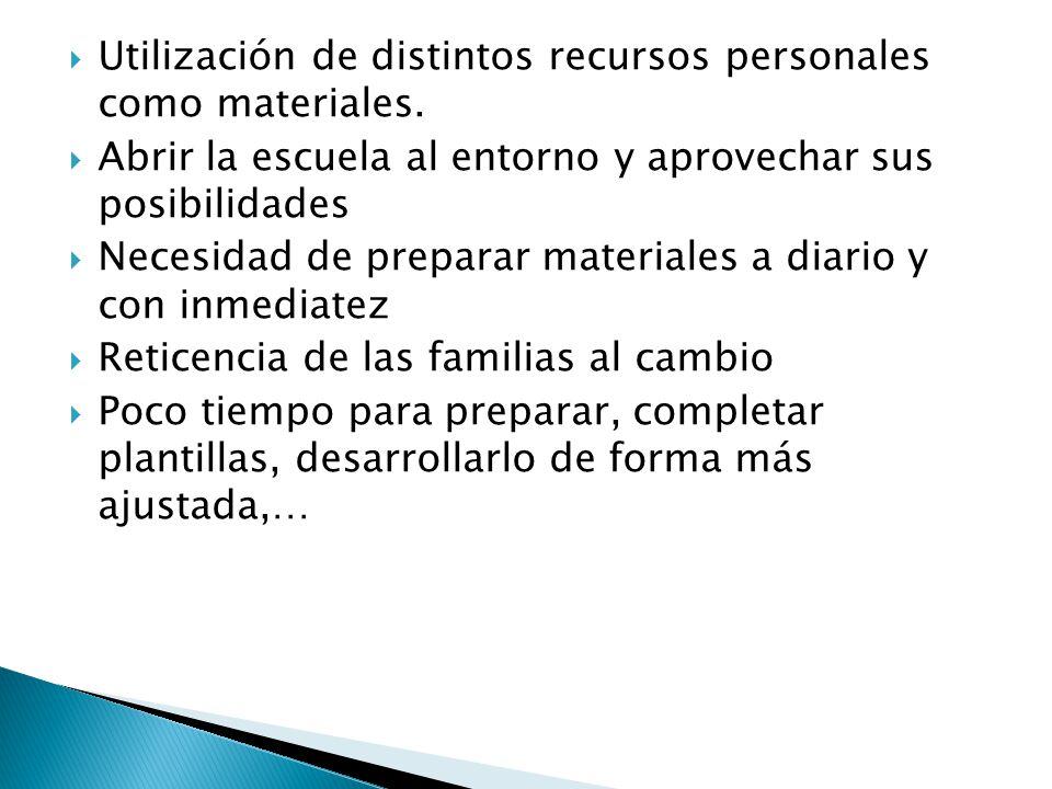 Utilización de distintos recursos personales como materiales.