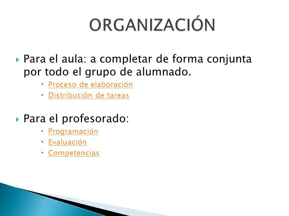 ORGANIZACIÓN Para el aula: a completar de forma conjunta por todo el grupo de alumnado. Proceso de elaboración.