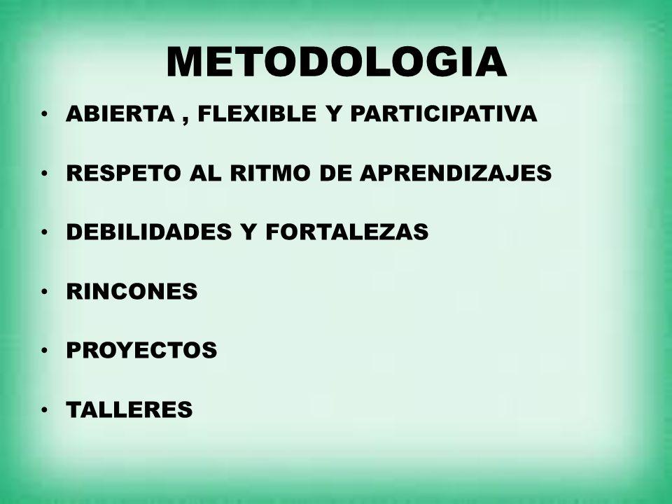 METODOLOGIA ABIERTA , FLEXIBLE Y PARTICIPATIVA